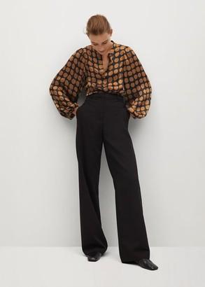 MANGO Geometric-print blouse caramel - 2 - Women
