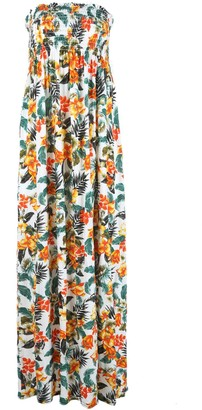Fashion Star Womens Print Gathered Bandeau Boobtube Sheering Long Maxi Dress Plus Size