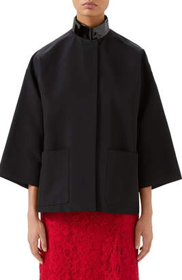 Gucci Leather Collar Oversize Swing Jacket