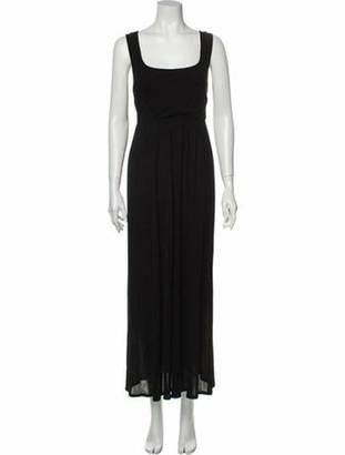 Max Mara Square Neckline Long Dress Black
