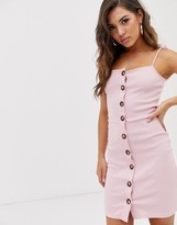 NA-KD Na Kd ribbed buttoned dress in pink