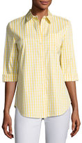 Lafayette 148 New York Wisteria 3/4-Sleeve Button-Front Check Top