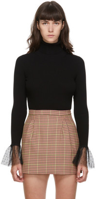 RED Valentino Black Rib Knit Ruffled Turtleneck