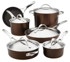 Anolon Nouvelle 11-Pc. Copper Luxe Sable Hard-Anodized Non-Stick Cookware Set