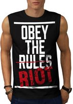 Not Obey The Rule Freedom Riot Men NEW L Sleeveless T-shirt | Wellcoda