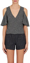 Derek Lam Women's Geometric-Print Silk Blouse-BLACK