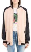 Saint Laurent Women's Teddy Oversize Satin Bomber Jacket