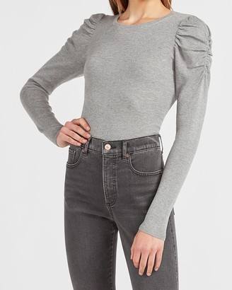 Express Ruched Sleeve Crew Neck Sweater