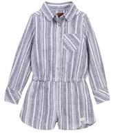 7 For All Mankind Long Sleeve Striped Romper (Little Girls)