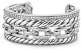 David Yurman Wellesley Link Pave Diamonds& Sterling Silver Cuff