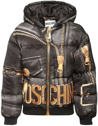 Moschino Logo Printed Shiny Nylon Puffer Jacket