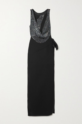 Maticevski Thrilling Draped Cady And Sequined Chainmail Gown - Black