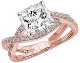 Houston Diamond District 1.03 Carat t.w. 14K Rose Gold Princess Eternity Love Criss Cross Twisting Split Shank Diamond Engagement Ring SI2-I1