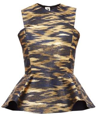 Maison Rabih Kayrouz Peplum Ikat-brocade Top - Womens - Navy Gold