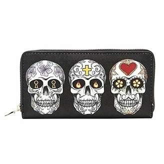 Skull Printed Long Wallet for Women Zip Around Phone Clutch Purse Halloween Gift