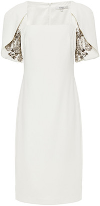 Badgley Mischka Embellished Crepe Midi Dress