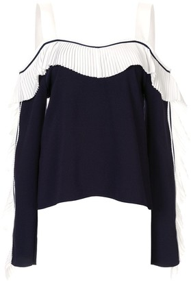 Comme Moi pleated cold shoulder top