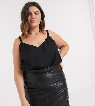 Asos DESIGN Curve eco swing cami with double layer in Black