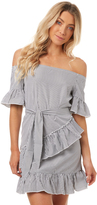 Reverse Womens Charlie Stripe Off The Shoulder Dress White
