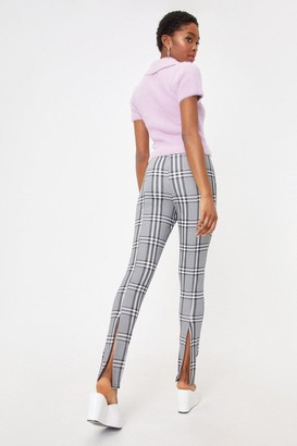 Nasty Gal Womens Check Down Tonight High-Waisted Slit Trousers - Mono - 6