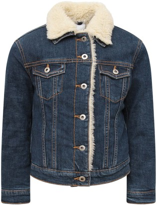 Dondup Blue Denim Boy Jacket With Shearling Detail