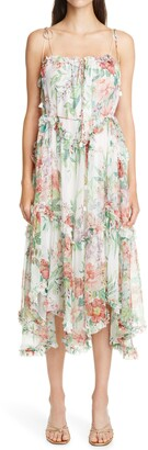 Zimmermann Bellitude Floral Ruffle Silk Chiffon Sundress