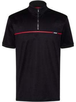 HUGO BOSS Mercerised Cotton Polo Shirt With Red Stripe Logo - Black