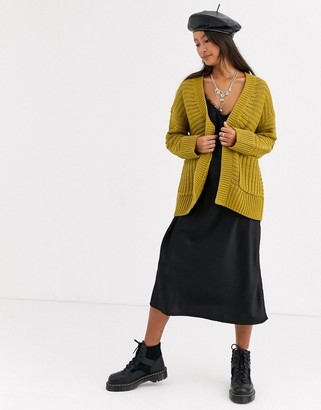 Noisy May chunky cardigan with pockets in mustard-Green