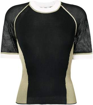 Fendi short sleeve silk jumper