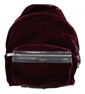 Saint Laurent Burgundy Velvet Backpacks