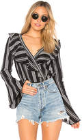 Band of Gypsies Herringbone Ruffle Bodysuit in Black. - size L (also in M,S,XS)