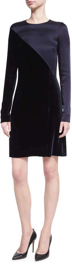 Cédric Charlier Long-Sleeve Satin & Velvet Combo Dress, Dark Blue