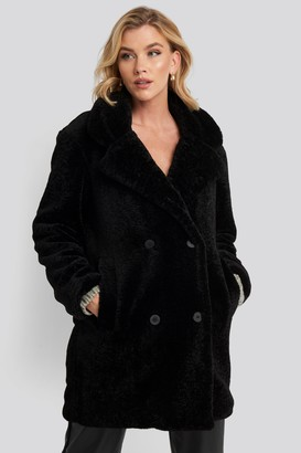 NA-KD Long Teddy Coat Black