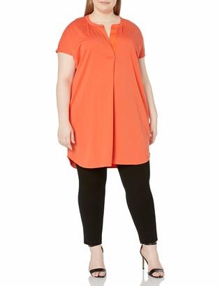Joan Vass Women's Plus-Size Relaxed Slit-Neck Cotton Blend Tunic