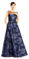 Aidan Mattox Jacquard Printed Illusion Evening Dress