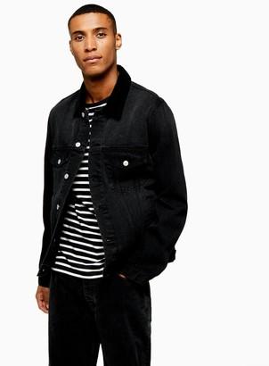 TopmanTopman Black Corduroy Collar Jacket