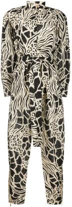 Alberta Ferretti Animal Print Belted Shirt Jumpsuit