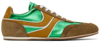 Dries Van Noten Green Leather Metallic Sneakers