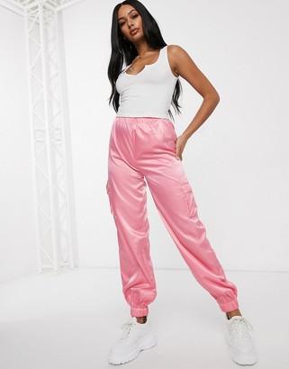 Public Desire oversized cuffed cargo pants in satin