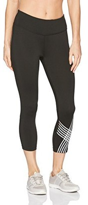 Calvin Klein Women's Placed Linear Graphic Crop Tight with Mesh Insert