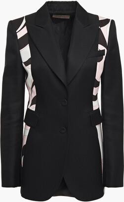 Emilio Pucci Printed Satin-paneled Wool-blend Twill Blazer