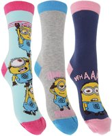 Despicable Me Womens/Ladies Minions Ankle Socks (Pack Of 3)