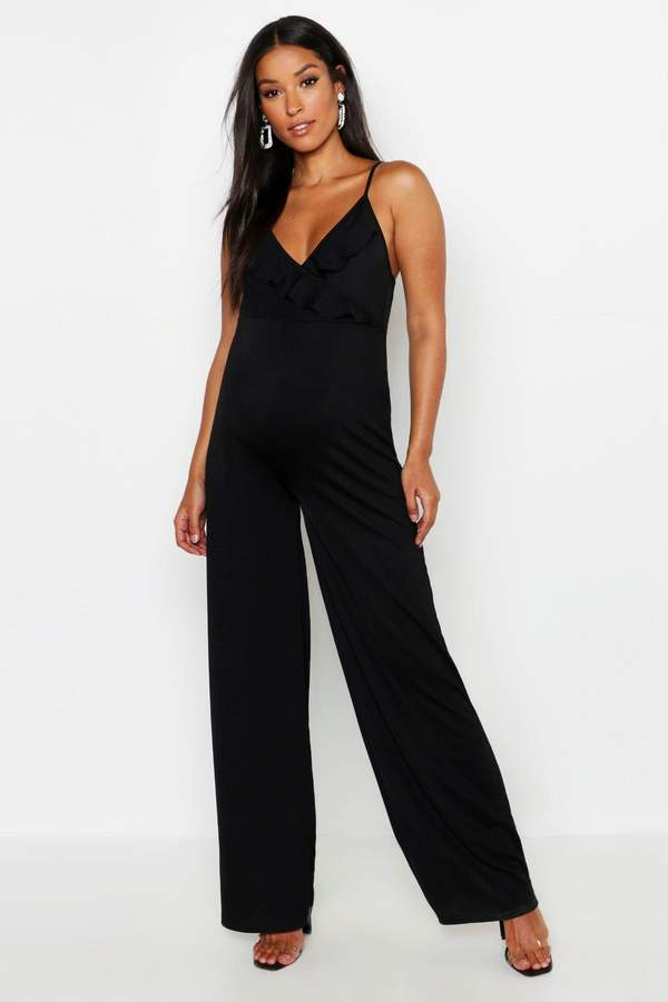 Maternity Frill Plunge Jumpsuit