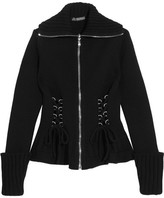Alexander McQueen Lace-up Wool Peplum Jacket - Black