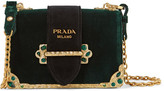 Prada Cahier Box Velvet Shoulder Bag - Emerald