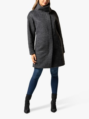 Forever New Cameo Funnel Neck Coat, Soft Grey