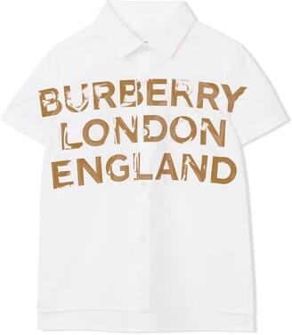 BURBERRY KIDS Logo Printed Cotton Shirt