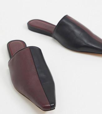 ASOS DESIGN Wide Fit Virgo premium leather mules in black and burgundy