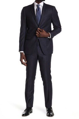 John Varvatos Collection Navy Sharskin Two Button Notch Lapel Wool Tailored Fit Suit