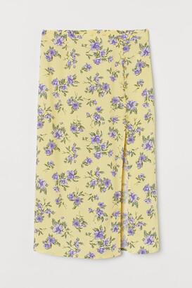H&M High-split Skirt - Yellow